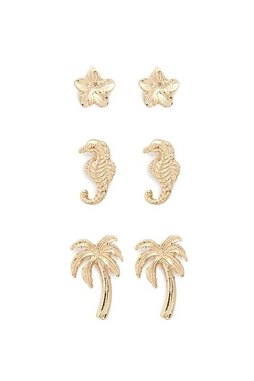 GOLD Tropical Stud Earrings Set, image 1