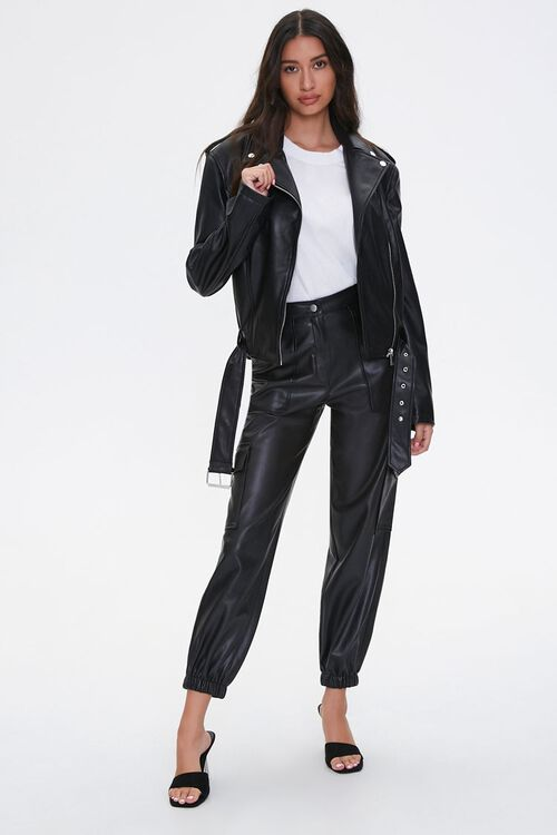 Faux Leather Belted Moto Jacket, image 4