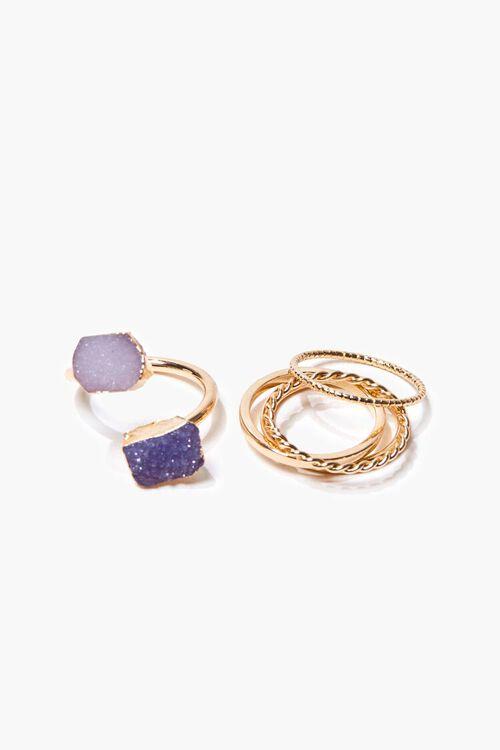 Faux Amethyst Crystal Charm Ring Set, image 2