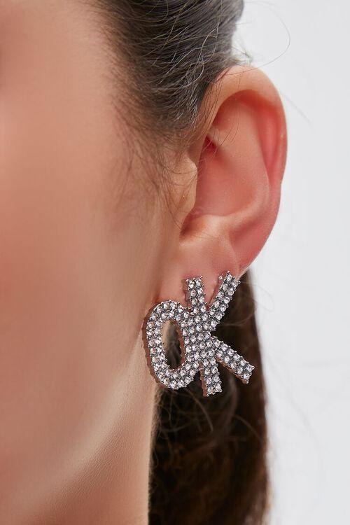 Rhinestone OK Pendant Drop Earrings, image 1