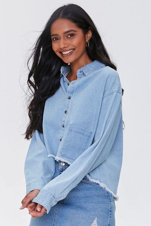 Frayed High-Low Denim Shirt, image 2