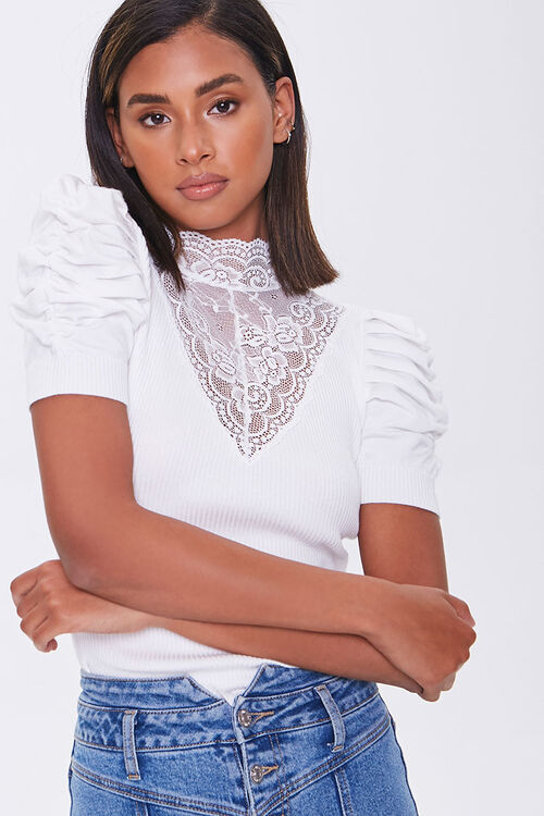 IVORY Lace Illusion Sweater-Knit Top, image 1