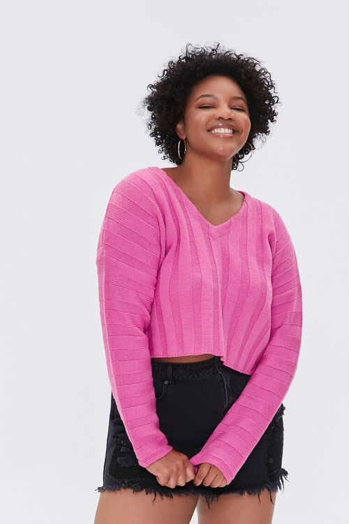 Plus Size Ribbed Drop-Sleeve Sweater, image 1