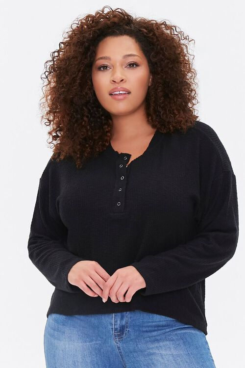Plus Size Ribbed Henley Top, image 1