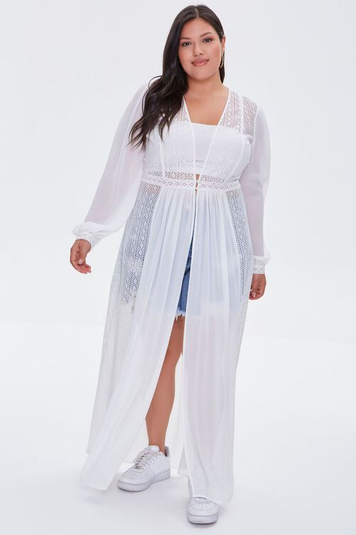 WHITE Plus Size Lace Duster Cardigan, image 5