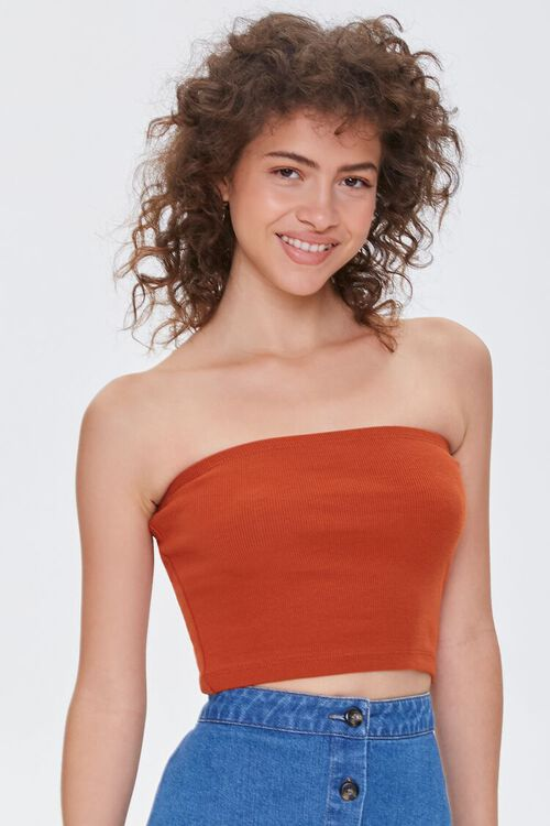 Ribbed Knit Tube Top, image 1