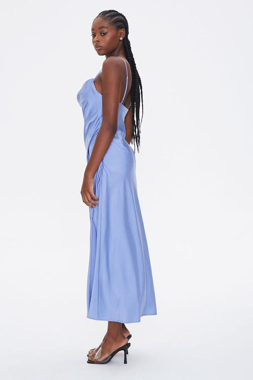 Satin Lace-Trim Side-Slit Dress, image 2