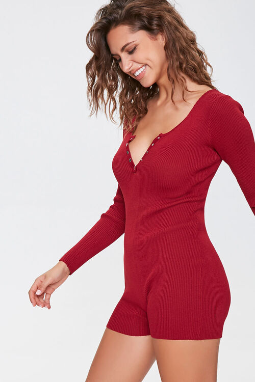 Sweater-Knit Henley Romper, image 1