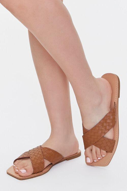 Crisscross Square-Toe Flat Sandals, image 1