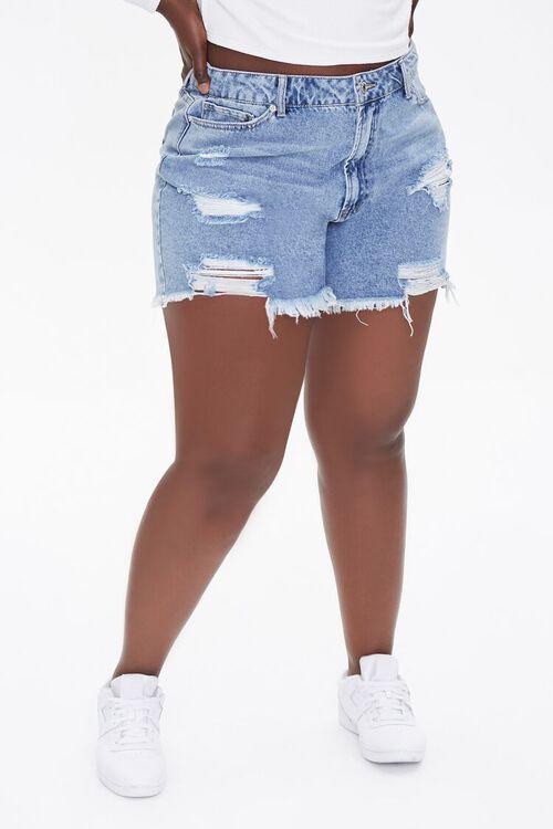 Plus Size Denim Mom Shorts, image 2