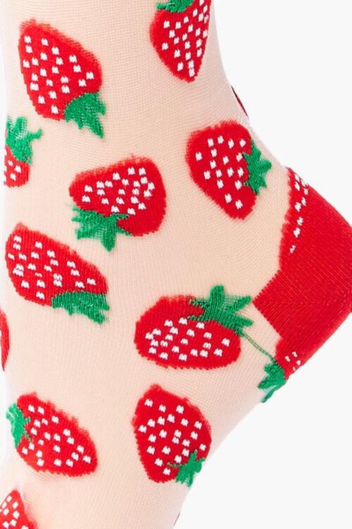 Sheer Strawberry Crew Socks, image 3