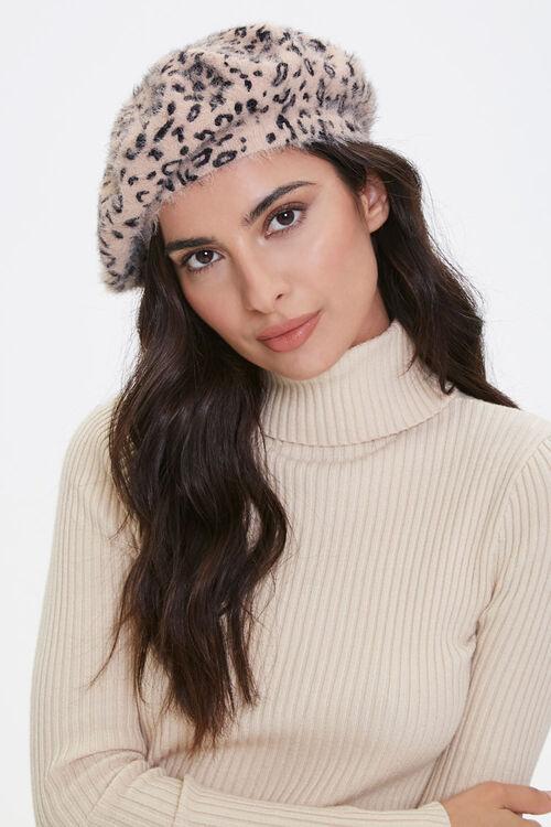 Fuzzy Knit Leopard Print Beret, image 1