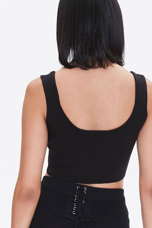 BLACK Sweater-Knit Cropped Tank Top, image 3