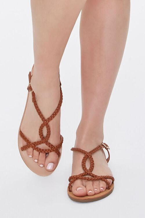 TAN Braided Faux Leather Sandals, image 4