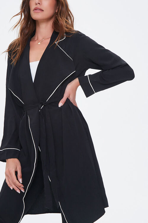 Piped-Trim Duster Coat, image 5