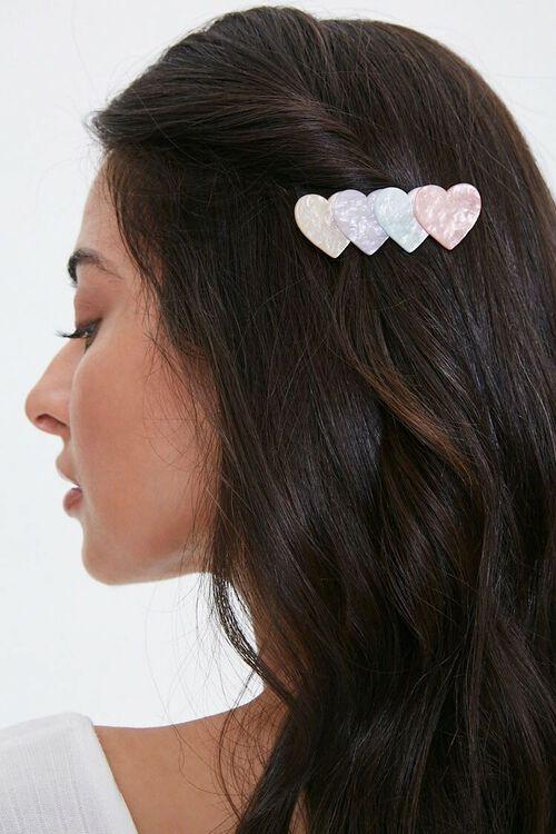 PINK/MULTI Marble Heart Gator Hair Clip, image 1