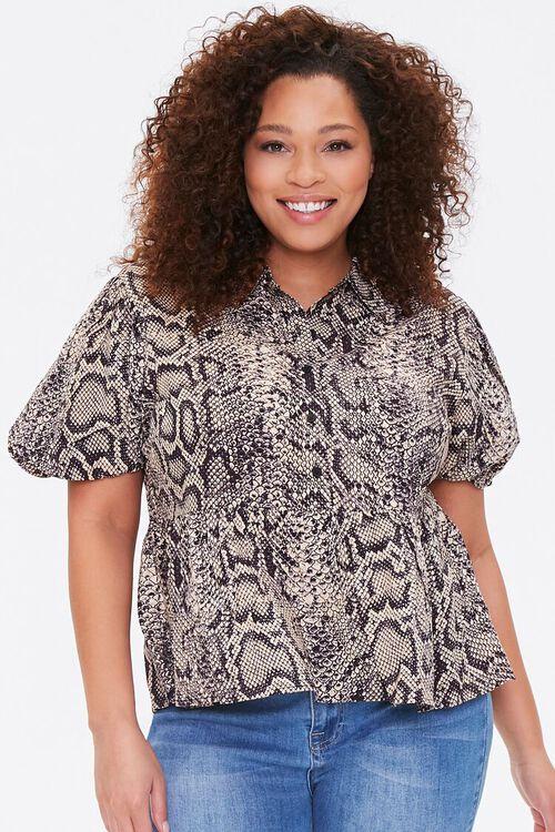 Plus Size Snakeskin Print Shirt, image 1