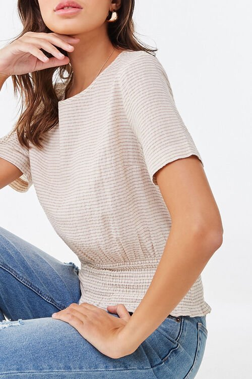 Striped Smocked Top, image 1