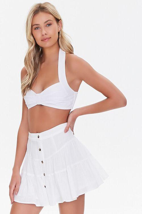 WHITE Button-Front Mini Skirt, image 1
