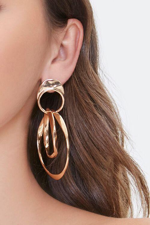 Dual Hoop Drop Earrings, image 1