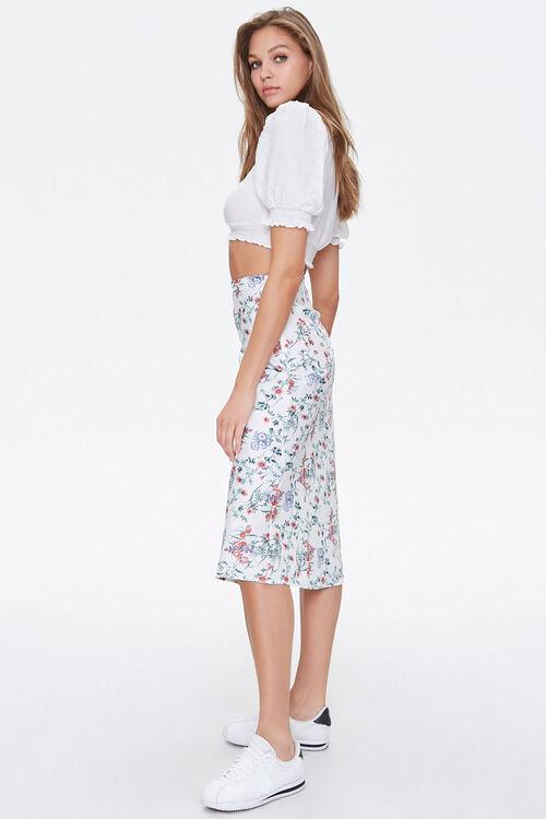 Floral Satin A-Line Skirt, image 3