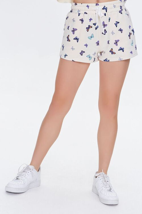 Butterfly Print French Terry Shorts, image 2