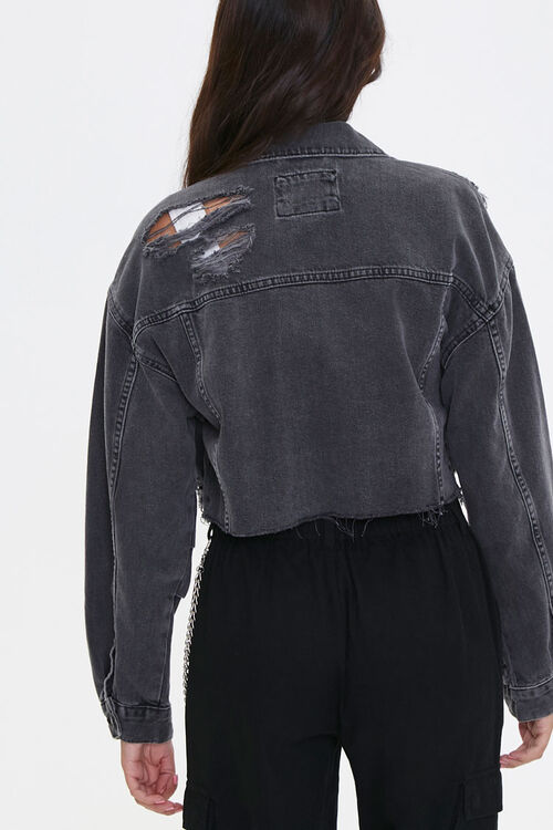 Cropped Raw-Cut Denim Jacket, image 3