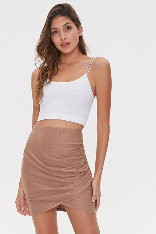 TAUPE Ruched Tulip-Hem Mini Skirt, image 1