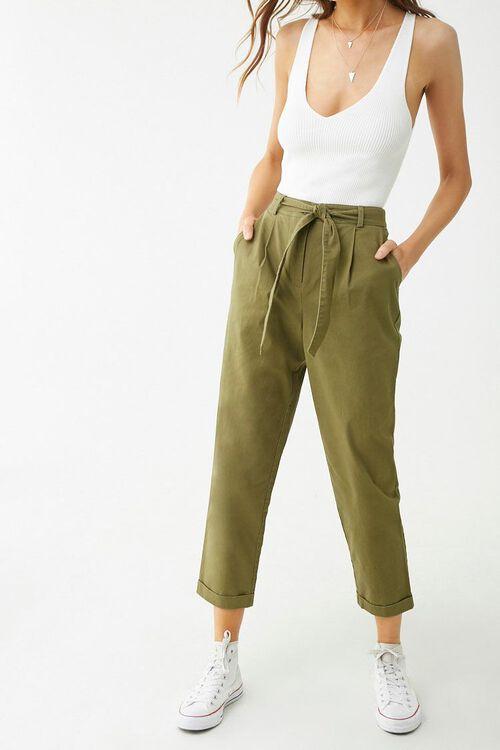 Belted Cuffed Hem Pants, image 1
