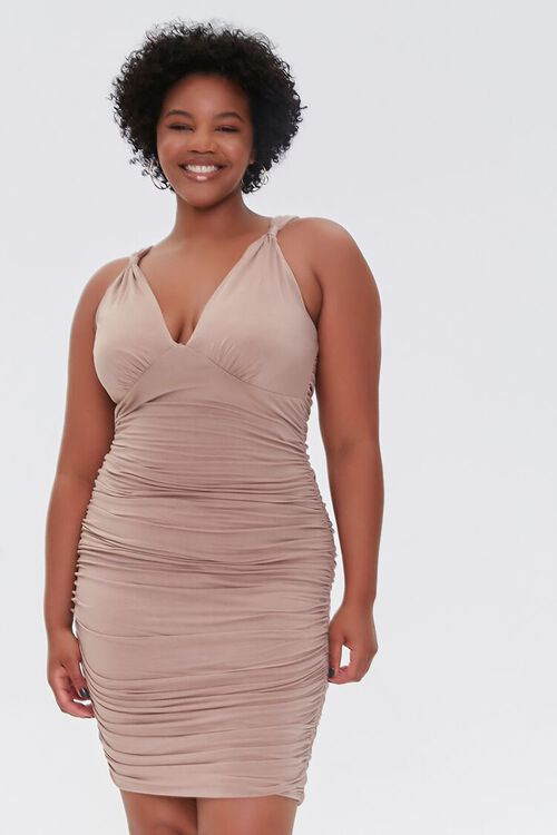 TAUPE Plus Size Ruched Bodycon Dress, image 5