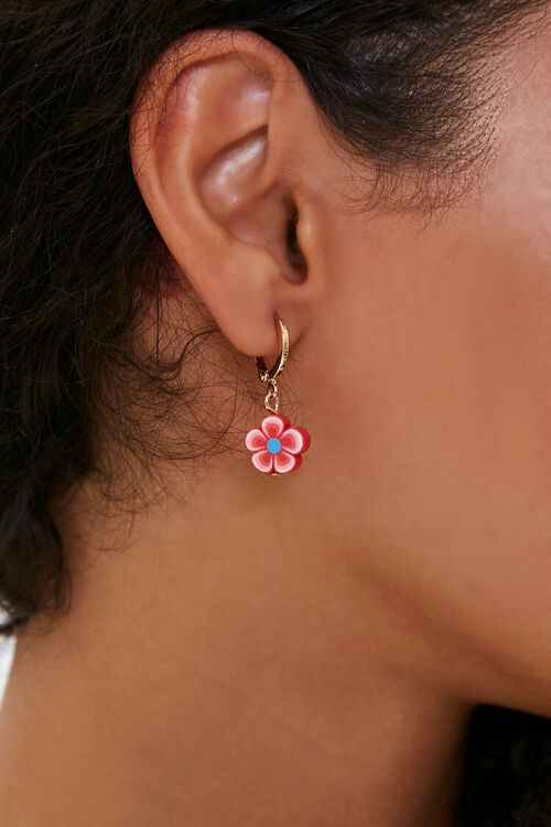 Floral Charm Hoop Earrings, image 1