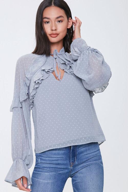 Chiffon Clip Dot Cutout Shirt, image 1