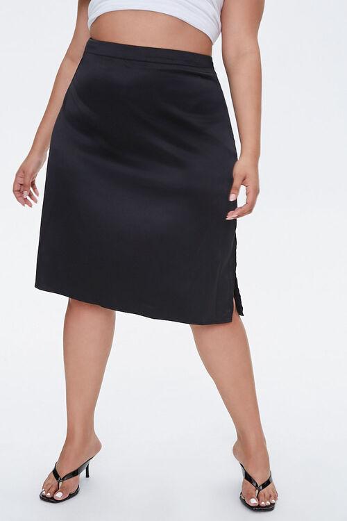 Plus Size Satin Midi Skirt, image 2