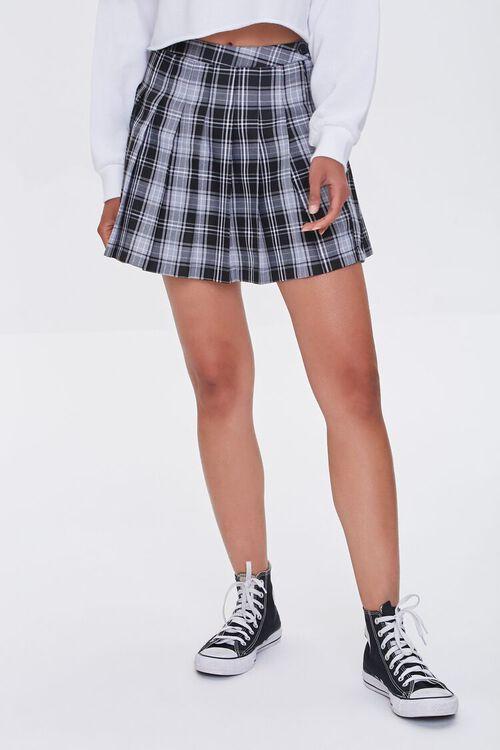 BLACK/MULTI Pleated Plaid Mini Skirt, image 2