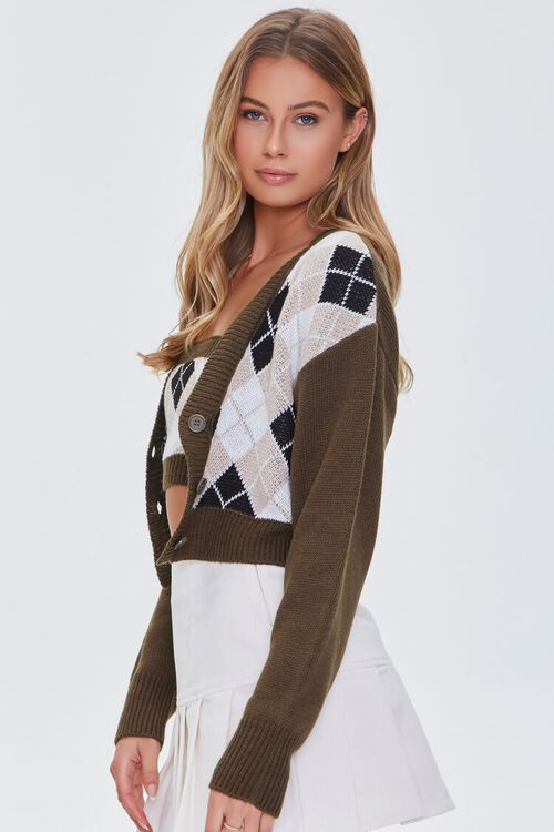 BROWN/MULTI Argyle Bandeau & Cardigan Sweater Set, image 2