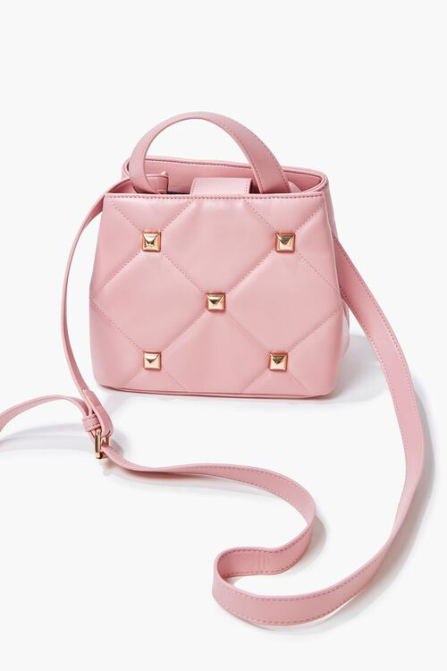 PINK Studded Quilted Faux Leather Satchel, image 4