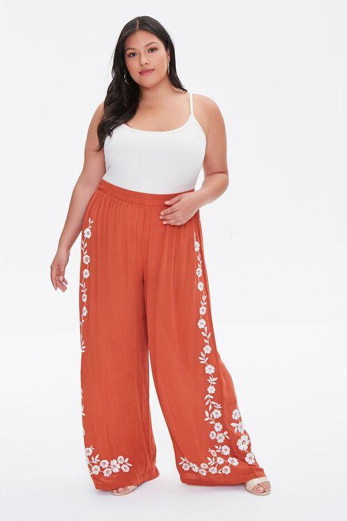 Plus Size Floral Wide-Leg Pants, image 1