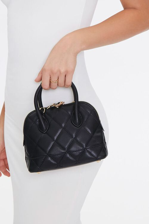 Faux Leather Quilted Satchel, image 1
