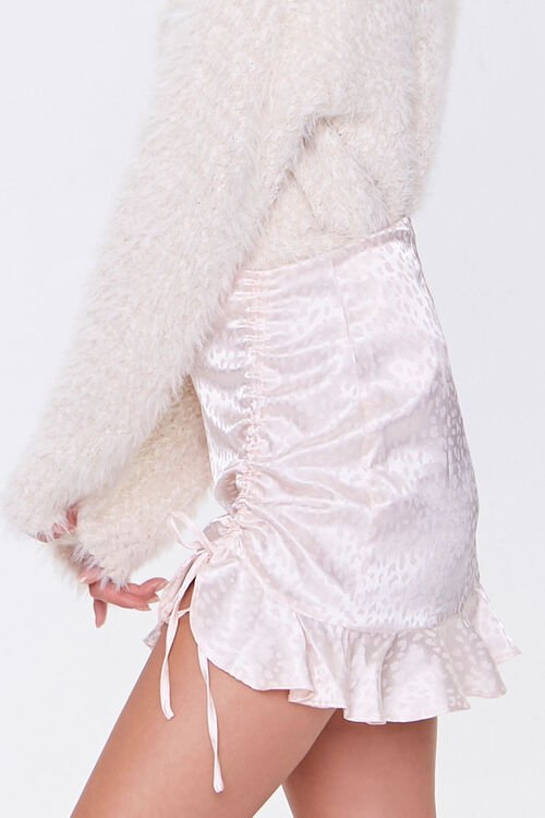 Satin Cheetah Print Mini Skirt, image 3