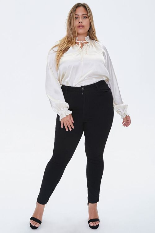Plus Size Satin Trumpet-Sleeve Top, image 4