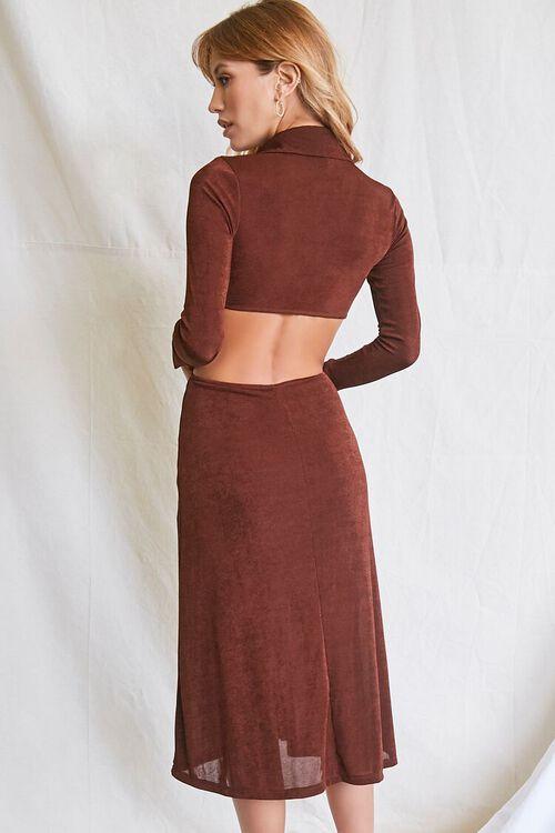 CHOCOLATE Button-Front Cutout Dress, image 3