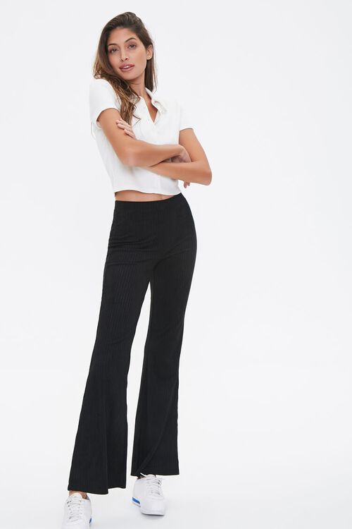 Ribbed Knit Flare Pants, image 1