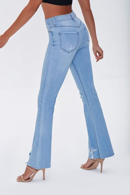 LIGHT DENIM Premium Distressed Flare Jeans, image 3