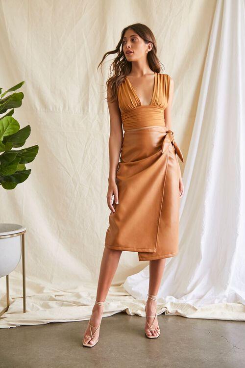 Faux Leather Midi Skirt, image 1