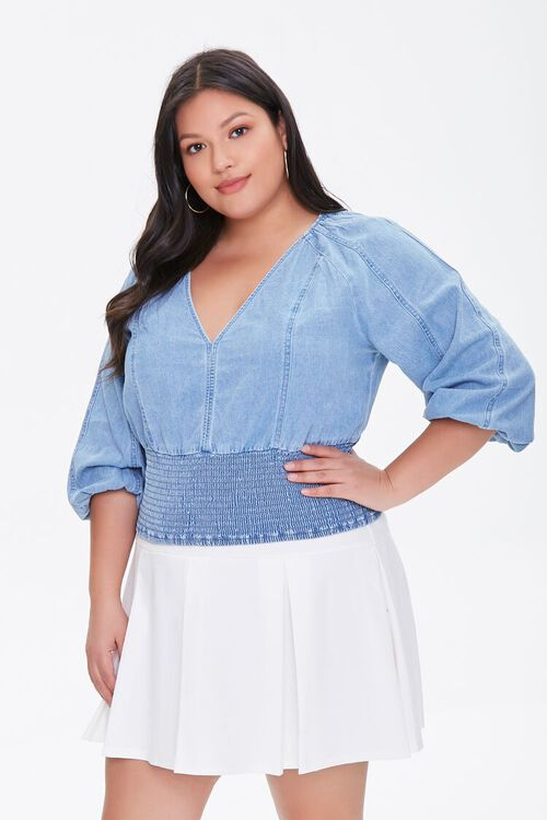 Plus Size Smocked Chambray Top, image 1