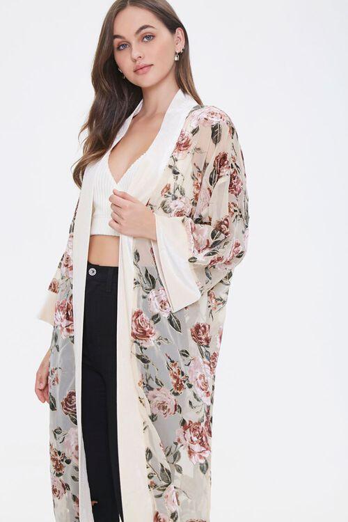 Velvet Rose Print Kimono, image 1
