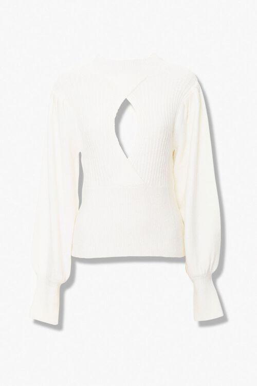 Ribbed Surplice Cutout Sweater, image 1