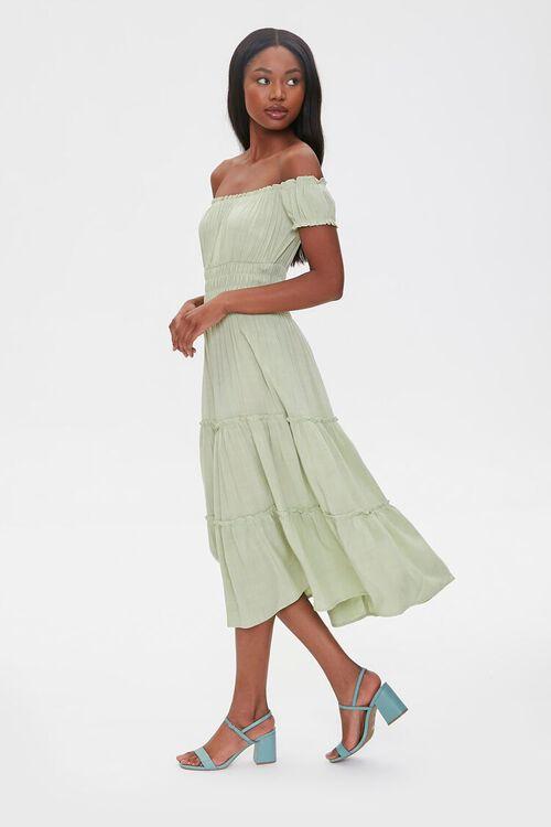 Linen Off-the-Shoulder Dress, image 3