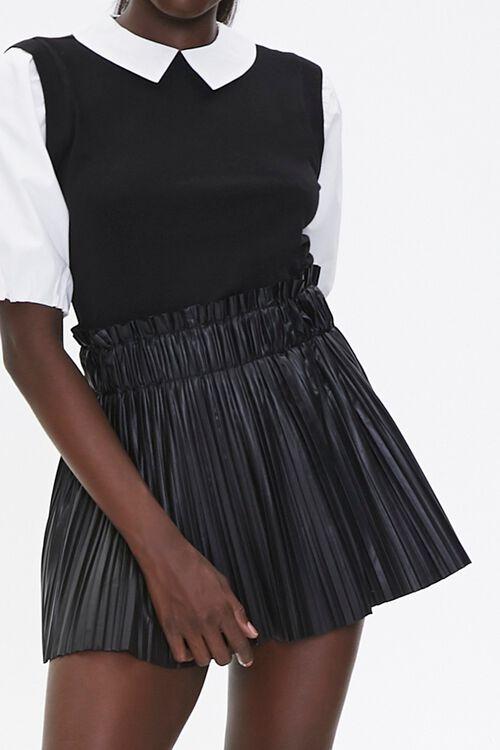 Pleated Faux Leather Mini Skirt, image 1