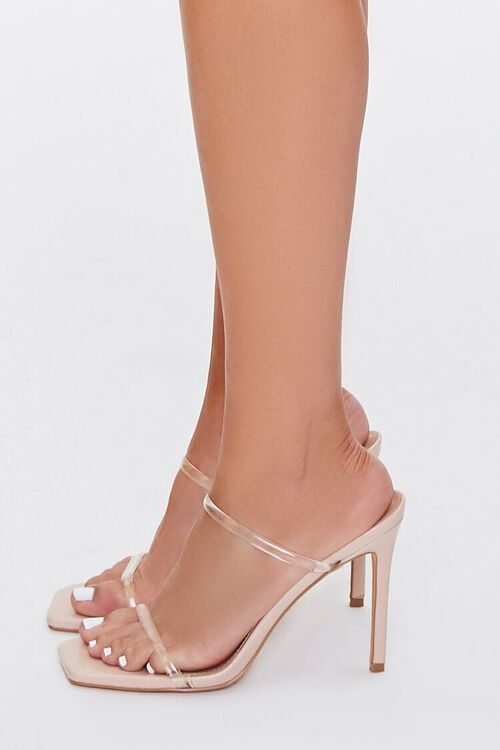 NUDE/CLEAR Faux Leather Stiletto Heels, image 2